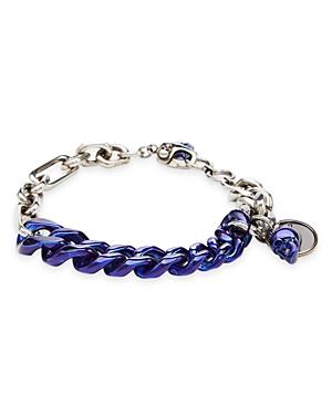 Alexander McQUEEN Blue Chrome Skull Charm Chain Bracelet