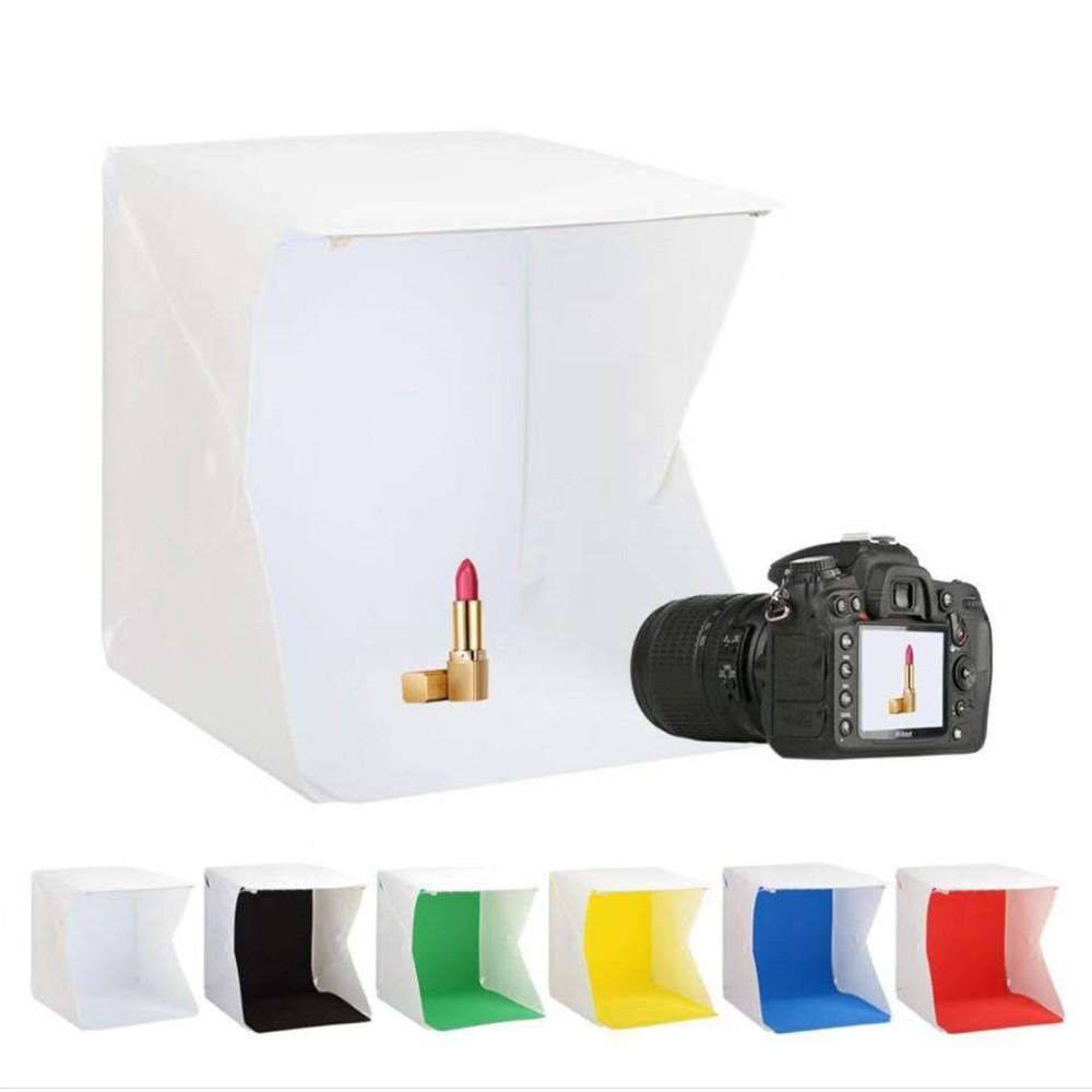 LED 20x20cm 內附LED燈條 迷你 折疊 攝影棚 6色背景布 攝影燈箱 小型攝影棚 輕巧便攜 [相機專家]