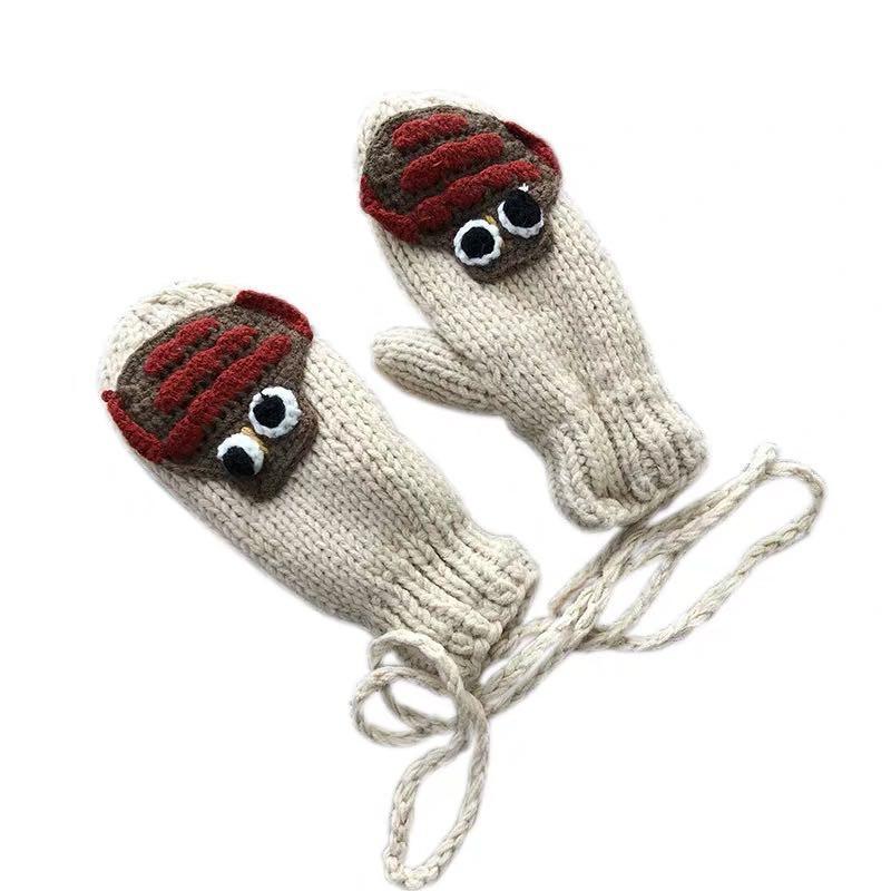 木瓜製品/【現貨】【大嘴魚】手工可愛卡通加厚保暖手套騎行學生掛脖連指手套