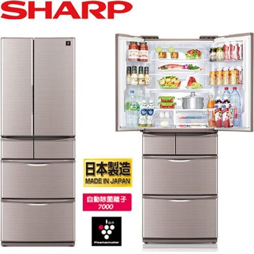 SHARP 夏普 SJ-XF47BT-T 465L 變頻對開電冰箱 六門 日製 (晶燦棕)
