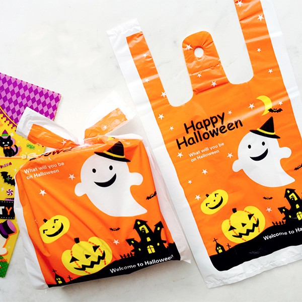 萬聖節橘色天空微笑幽靈黃南瓜手提袋/塑膠袋/手提包裝袋(1入)【HW0027】《Jami》