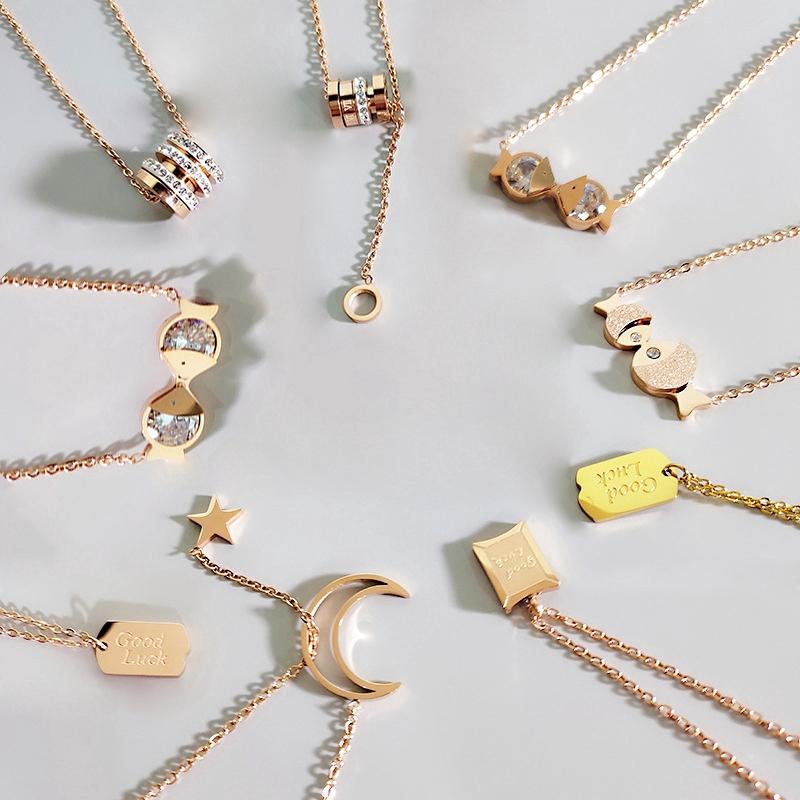 韓版網紅玫瑰金氣質圓環鈦鋼項鍊女長款時尚字母鎖骨鏈簡約潮頸鍊
