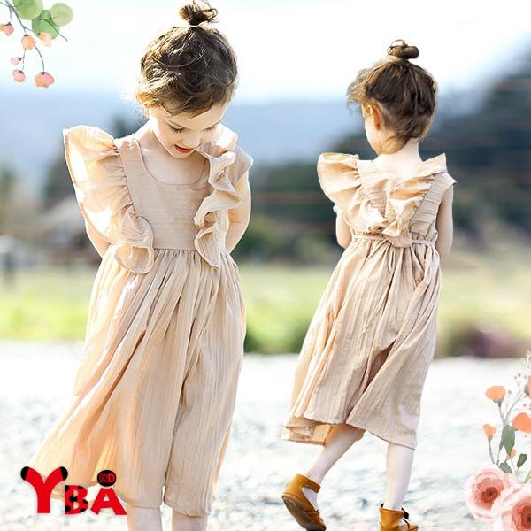 【YBA童裝】韓版大荷葉邊無袖連衣裙05/11(杏)【K75087】[預購]