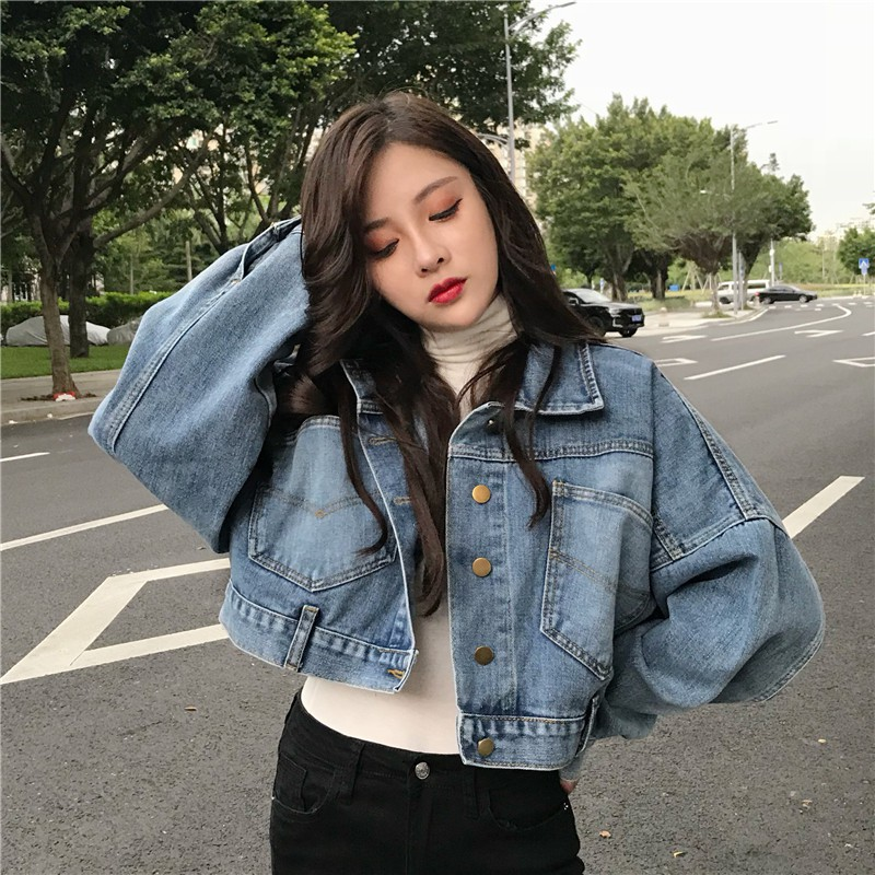 [2件折30] 韓版牛仔外套 女生 短版 牛仔 單寧 寬鬆 潮牌 外套 韓版復古蝙蝠袖牛仔外套女百搭男友風夾克外套