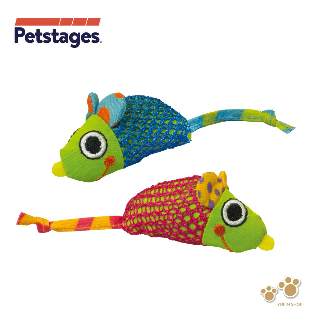 美國 Petstages 327 健齒網狀鼠 (2入) 貓草 貓薄荷 帆布 磨爪 撲抓 寵物玩具 貓玩具