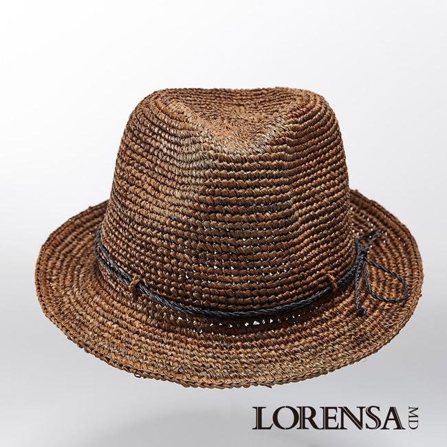Lorensa蘿芮 拉菲亞草咖啡色手工編織時尚遮陽紳士帽 中性款
