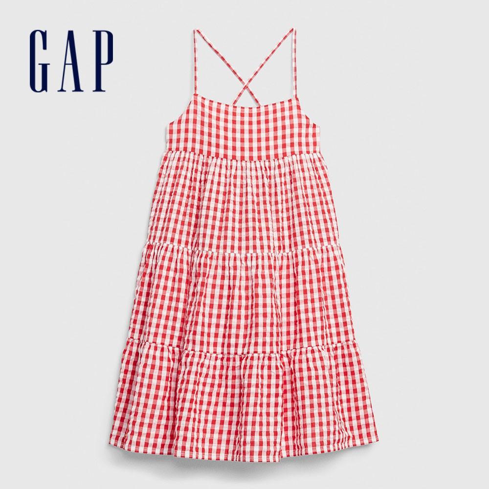 Gap 女童 活力格紋分層式吊帶洋裝 578389-紅色方格