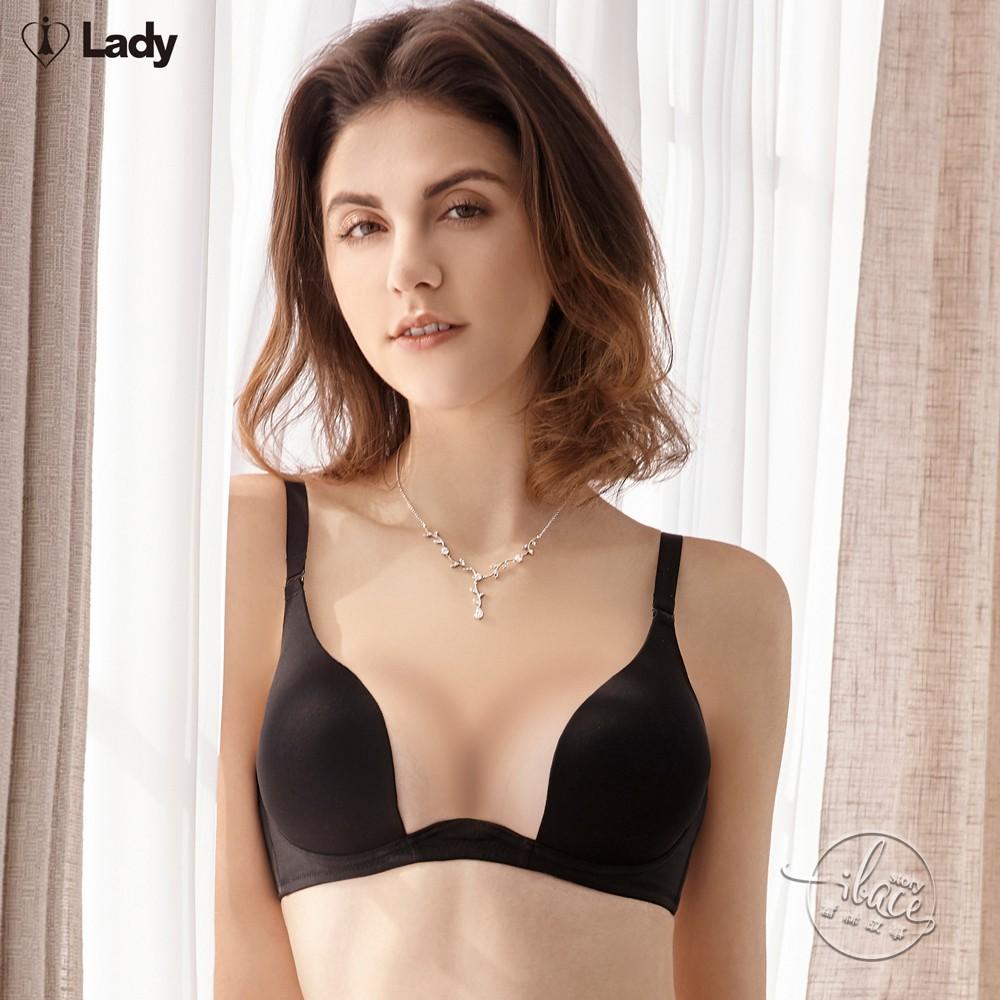 LADY 夢幻W系列 素面無痕深線W鋼圈內衣 C-E罩(時尚黑)