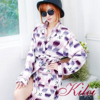 【Kilei】時髦漸層英字柔軟水貂絨中性睡袍XA1820-01(漸層紫芋)全尺碼