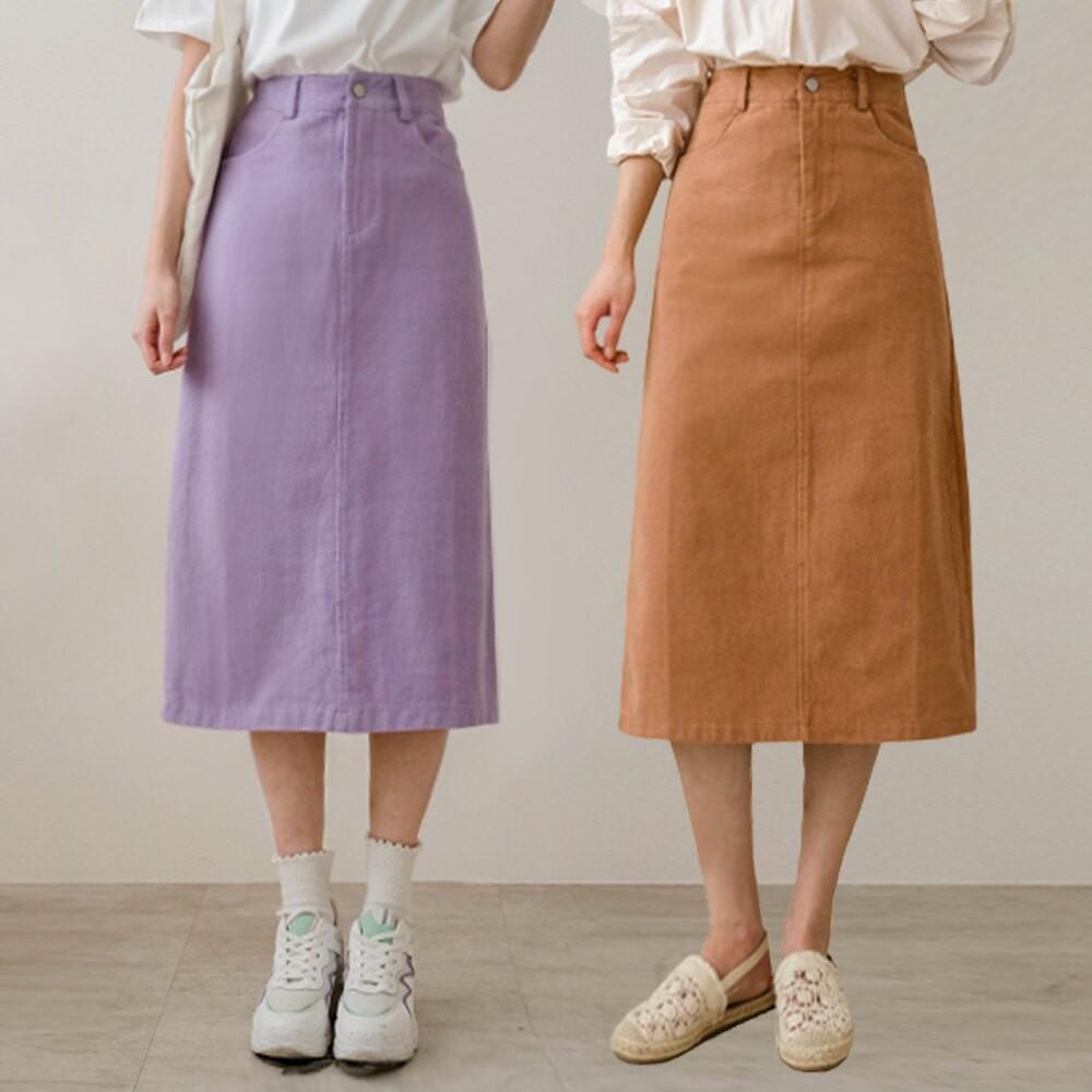 MIUSTAR 繽紛色素面後開衩斜紋布中長裙(共7色,M-L)0216 預購【NJ0247】
