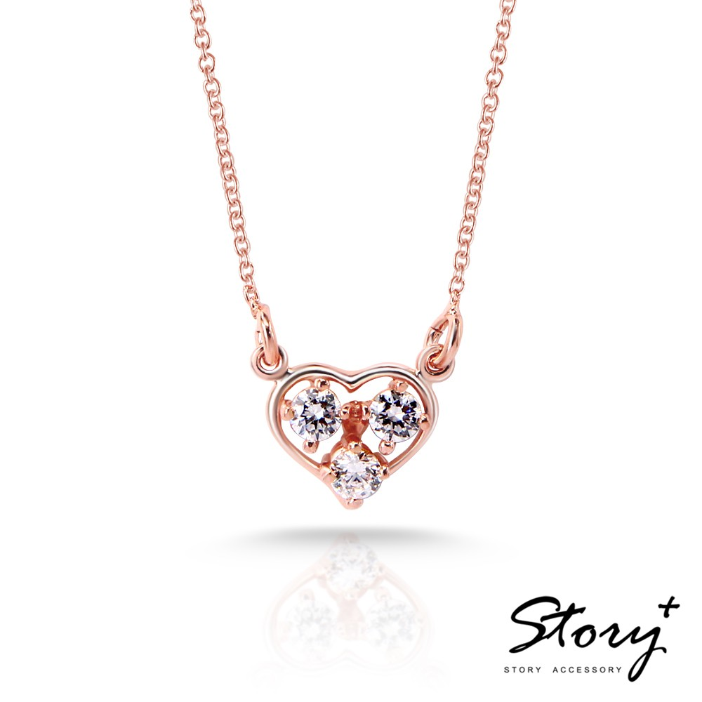 STORY故事銀飾-明亮的心純銀項鍊(玫瑰金+白鑽)