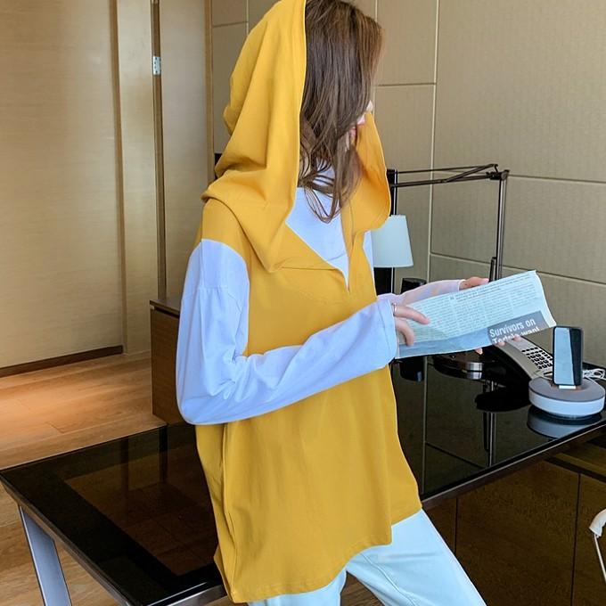 [嬌戀主角]拼色假兩件外套連帽長袖大學T