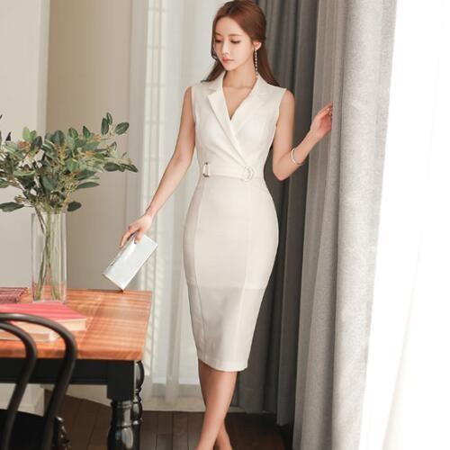 現貨  白S 洋裝新款韓版OL氣質簡約中長款收腰修身包臀時尚連身裙禮服19779胖胖美依