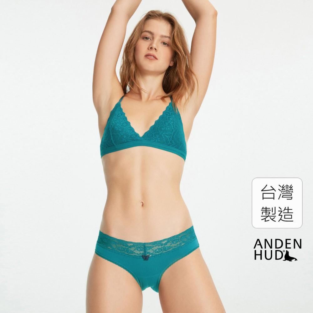 【Anden Hud】春寒.V蕾絲低腰三角內褲(翠綠) 台灣製