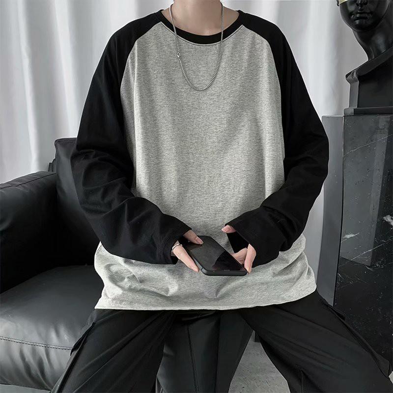長袖t恤男 bf港風 撞色 拼接 內搭打底衫 寬鬆 圓領衣服(V203)【壹號站】