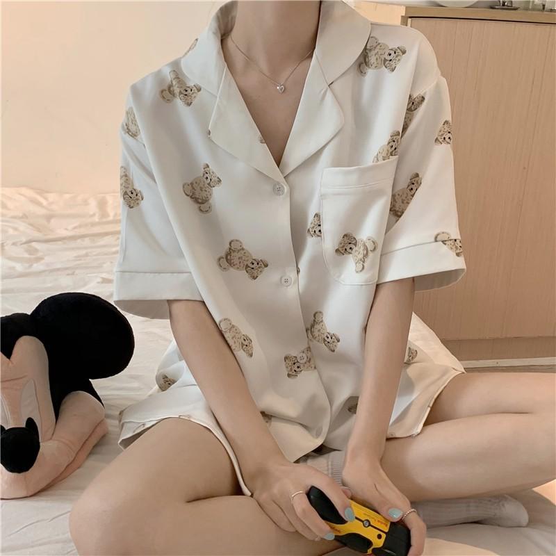 睡衣 居家服套裝 短袖睡衣 你的枕邊小熊~清新少女慵懶可愛卡通襯衫短褲居家睡衣套裝
