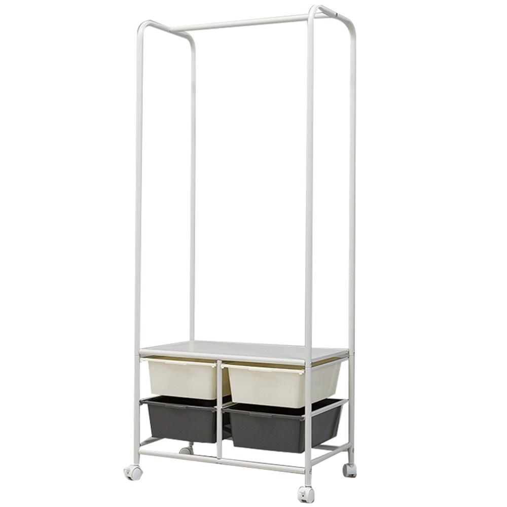 DIY兩層可收納多功能掛衣架(附收納籃)-2白框+2深灰框