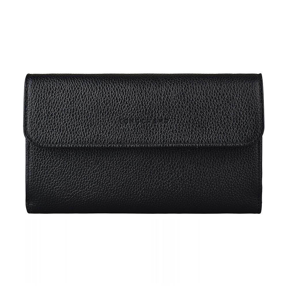 Longchamp LE FOULONNE 字母LOGO壓印羊皮12卡扣式長夾(黑)