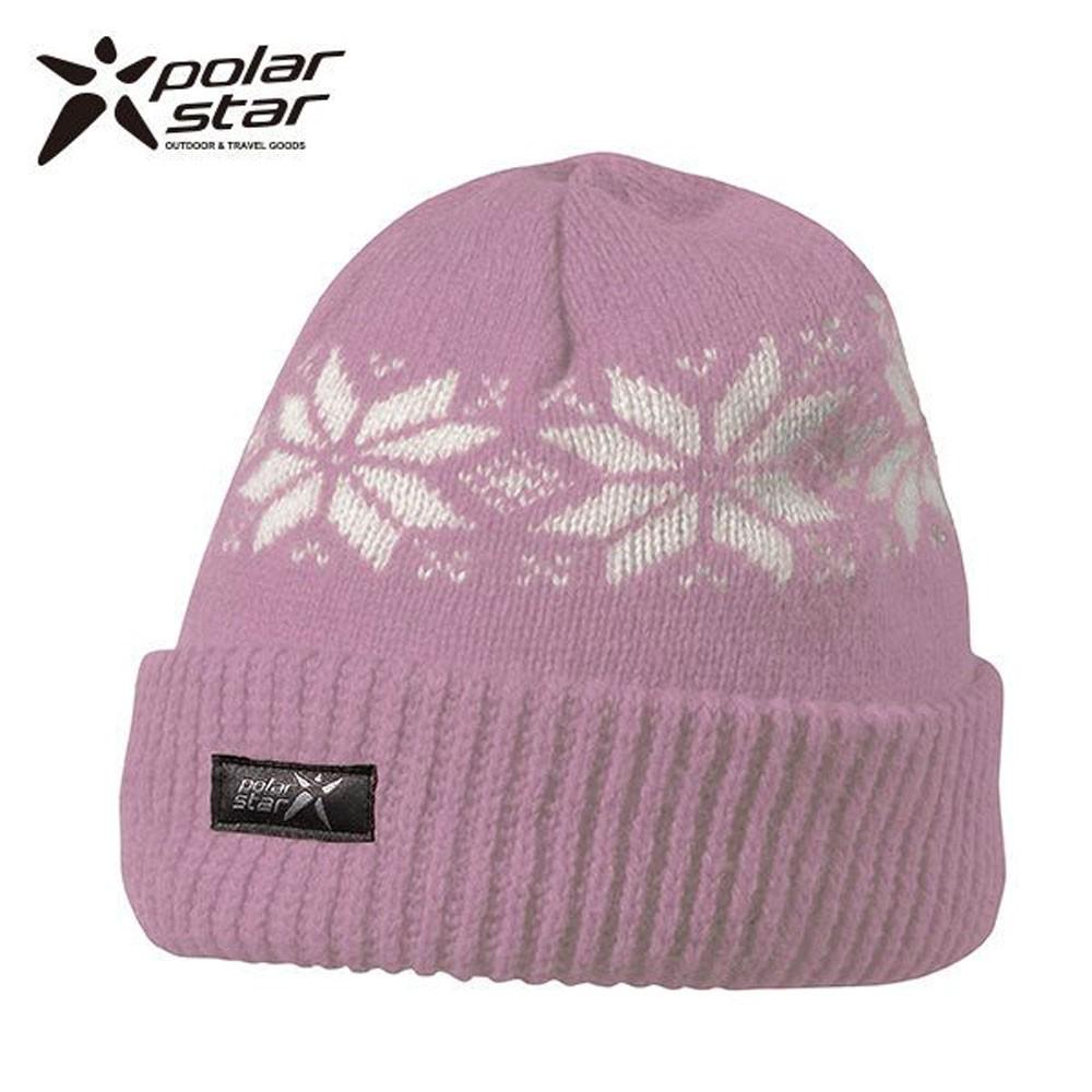 PolarStar 台灣製 反摺橫條羊毛保暖帽(內襯刷毛布,降低刺癢感) P13606『紫』