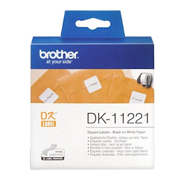 BROTHER 23x23mm DK-11221 耐用型紙質 白底黑字 原廠 定型標籤 標籤帶