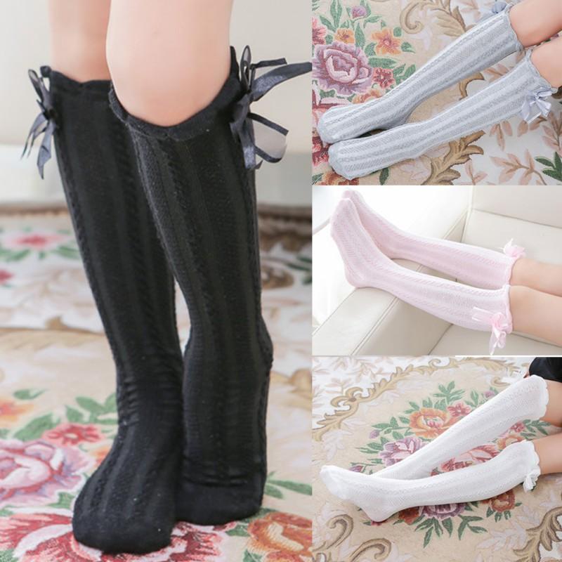 新品女童麻花蝴蝶結中筒襪【IU貝嬰屋】
