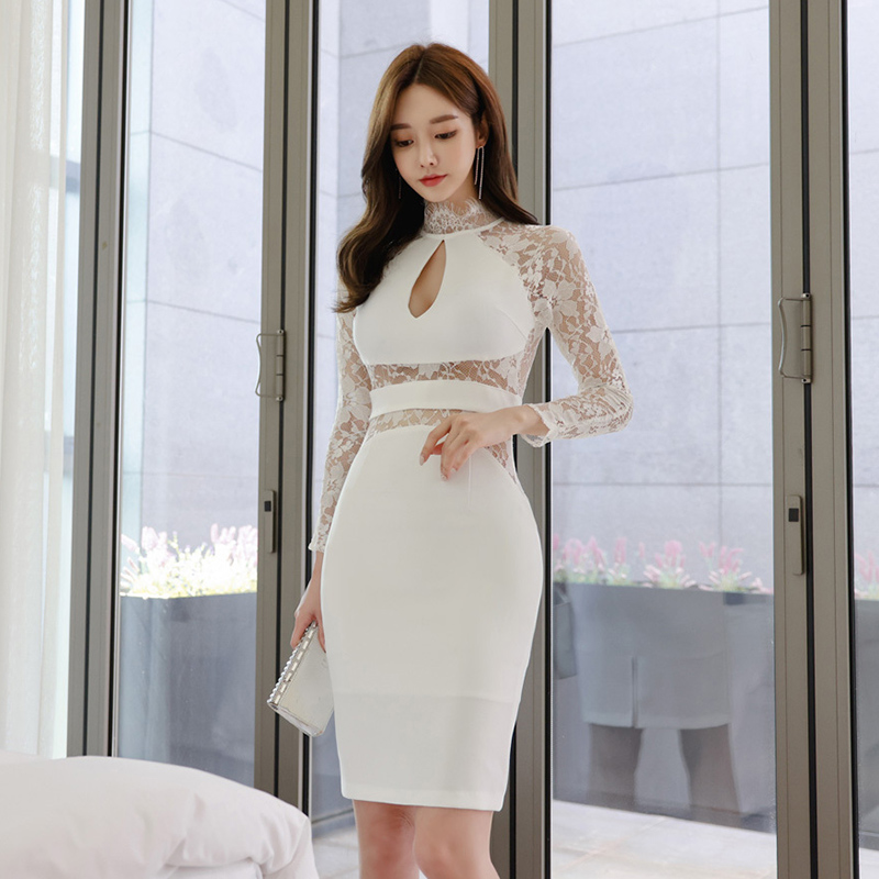 名媛透視性感白色宴會禮服重要場合酒會洋裝晚禮服顯身材及膝連衣裙