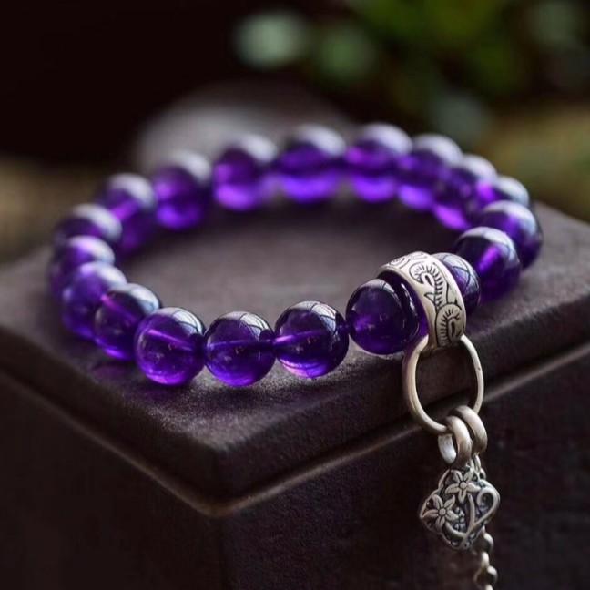 【龍騰彩岩】 女神必備 6A純銀 天然紫水晶 手珠 手鍊 錢錢趕快來 智慧瞬間開 氣場好起來 事業旺旺旺 好運跟著來