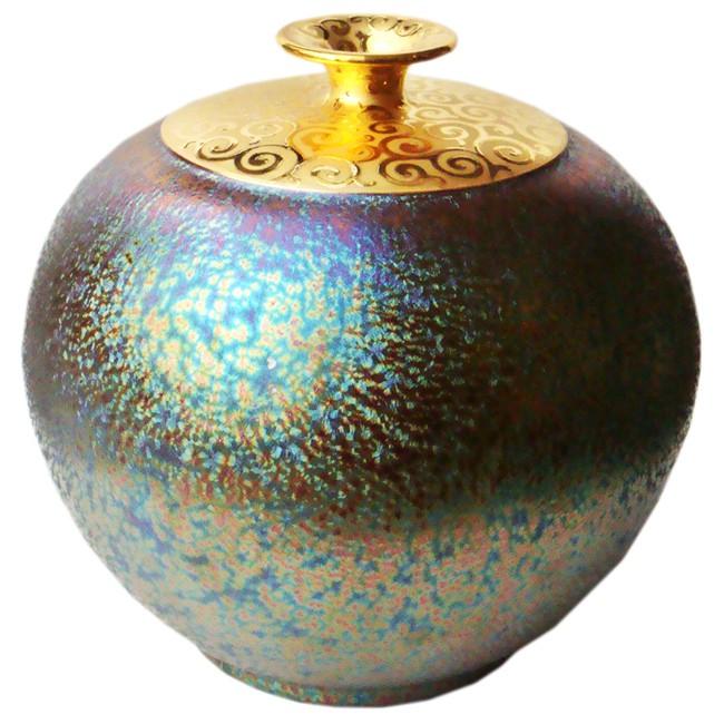 陶藝大師郭明本 錳七彩結晶釉鎏金瓶 (大圓球瓶) 繽紛人生聚寶盆  禮物  送禮