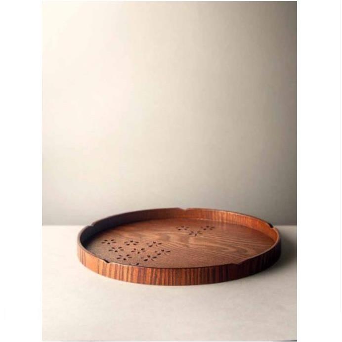 【九土JOTO】日式鏤空櫻花木製茶盤餐盤日式木質茶盤實木鏤空大號圓形托盤茶盤餐杯托盤水果盤點心盤家用