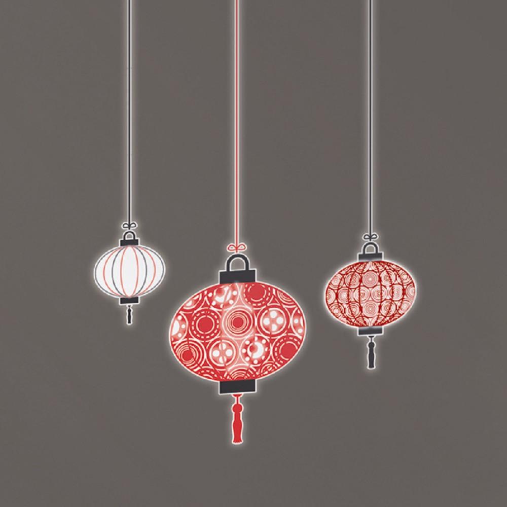 義大利進口HOME DÉCOR 絨面夜光貼飾 31cmX31cm(2圖) 紅燈籠