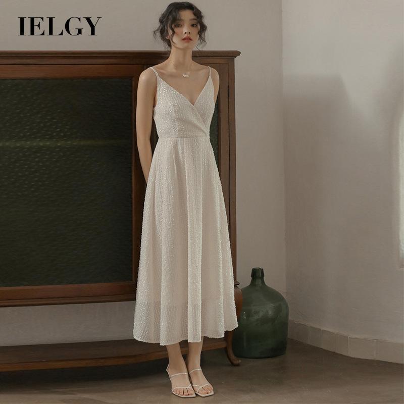 IELGY女人的衣服 長 吊帶 百搭 洋裝 法國 海濱 復古 白色 休閒