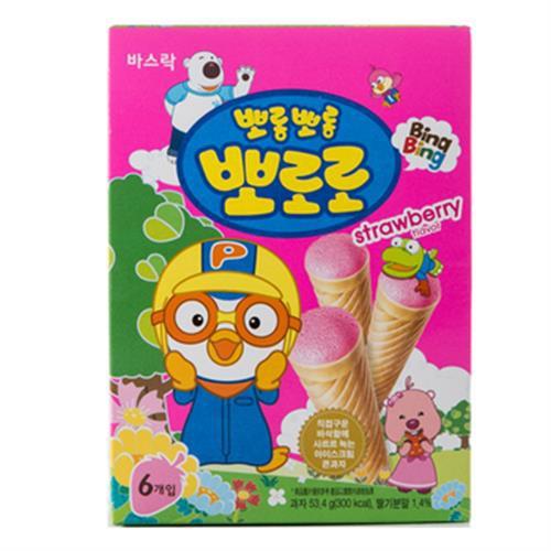 啵樂樂 甜筒威化-草莓風味(53.4g/盒)[大買家]