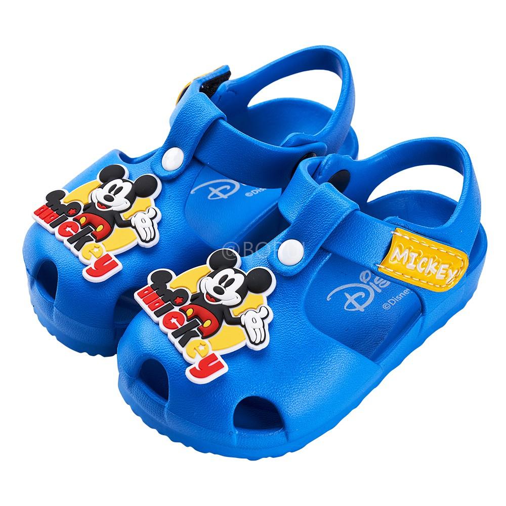 迪士尼童鞋 米奇 立體造型護趾防水涼鞋-藍