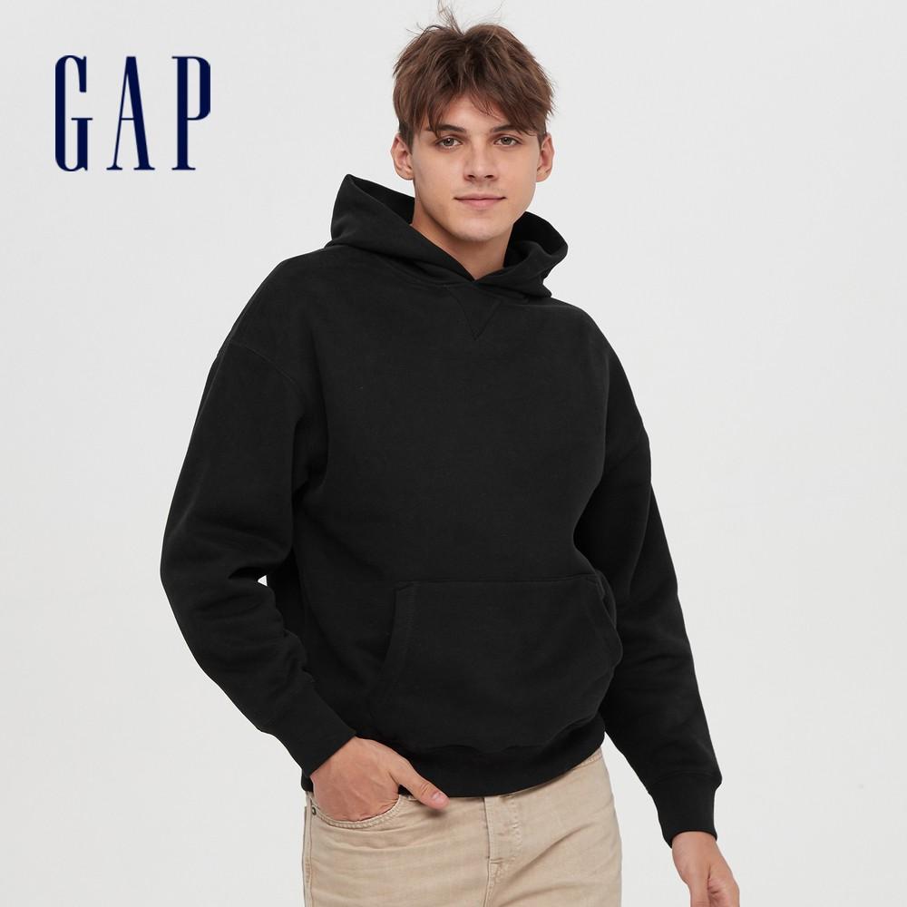Gap 男女同款 簡約風格純色連帽休閒上衣 627533-黑色