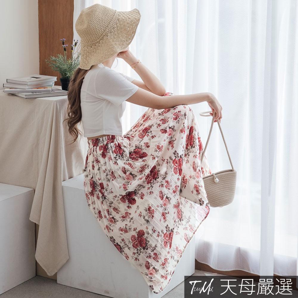 天母嚴選 浪漫花卉百摺雪紡長裙(共二色)