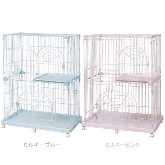 日本IRIS-室內日系雙層貓籠  棕色(新款) / 粉藍 / 粉紅【PEC-902】