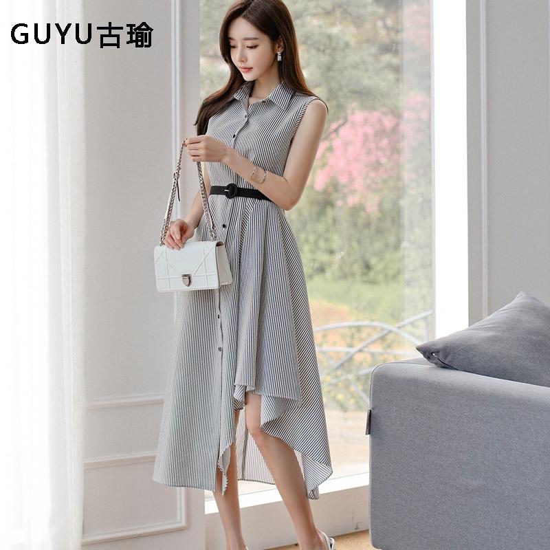 正韓洋裝不規則條紋襯衫洋裝過膝長洋裝夏天無袖連身洋裝 A字洋裝