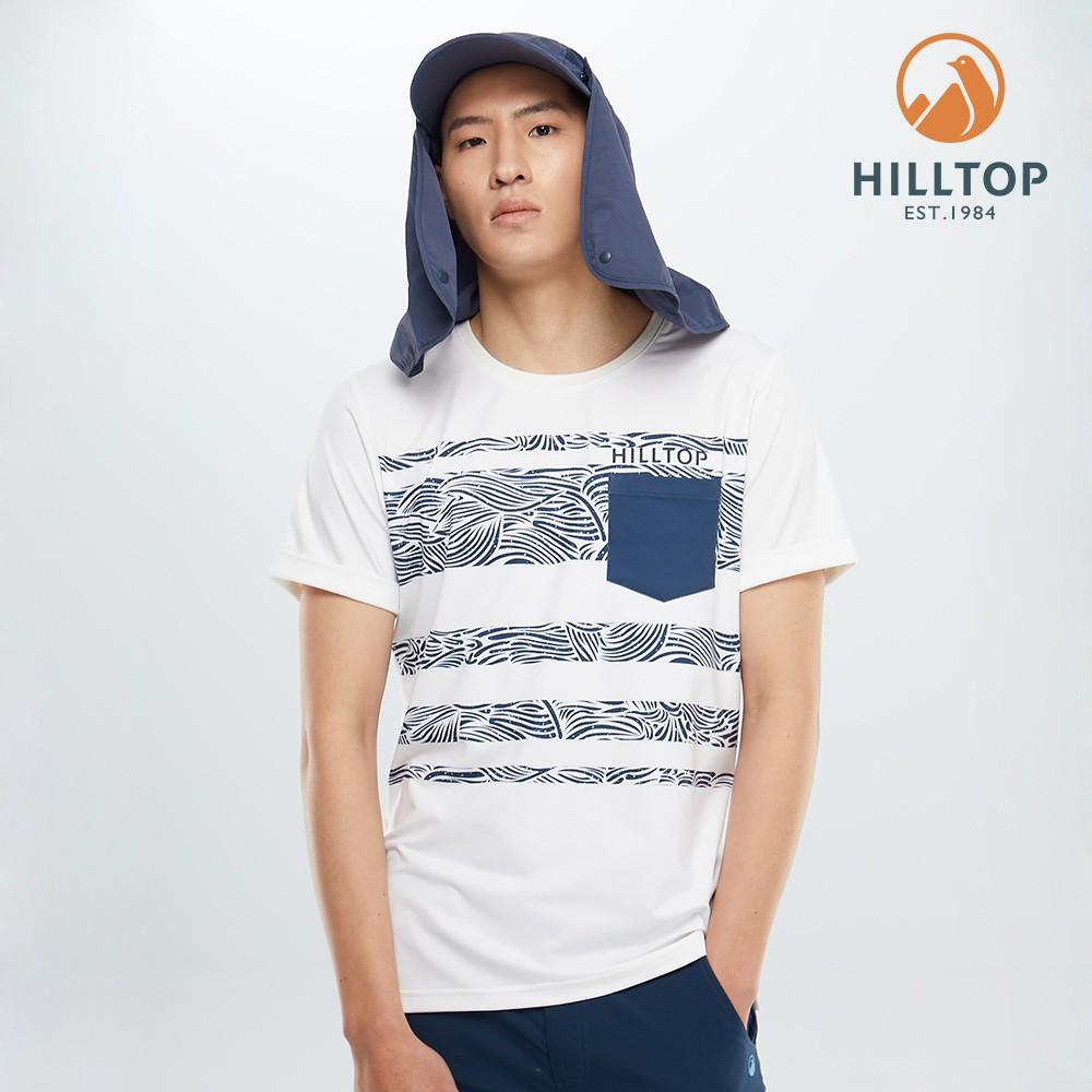 【hilltop山頂鳥】男款吸濕快乾polygiene抗菌T恤S04MD1白底深藍印花