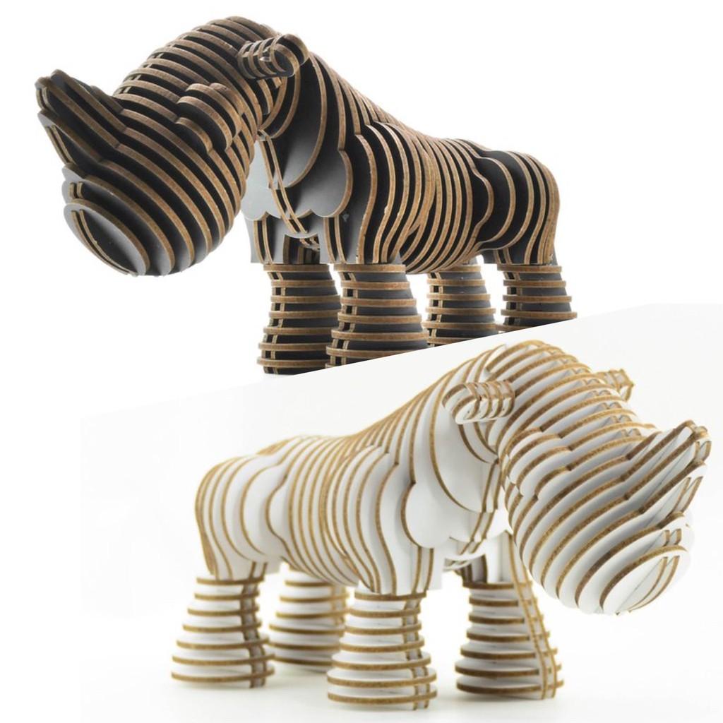 阿密特麋鹿 DIY藝術3D立體拼圖  雷恩犀牛 Ryan the Rhino   2色  [收藏天地]