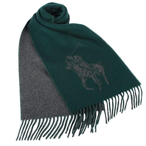 POLO RALPH LAUREN 經典大馬圖徽保暖圍巾(綠色)【購名牌】