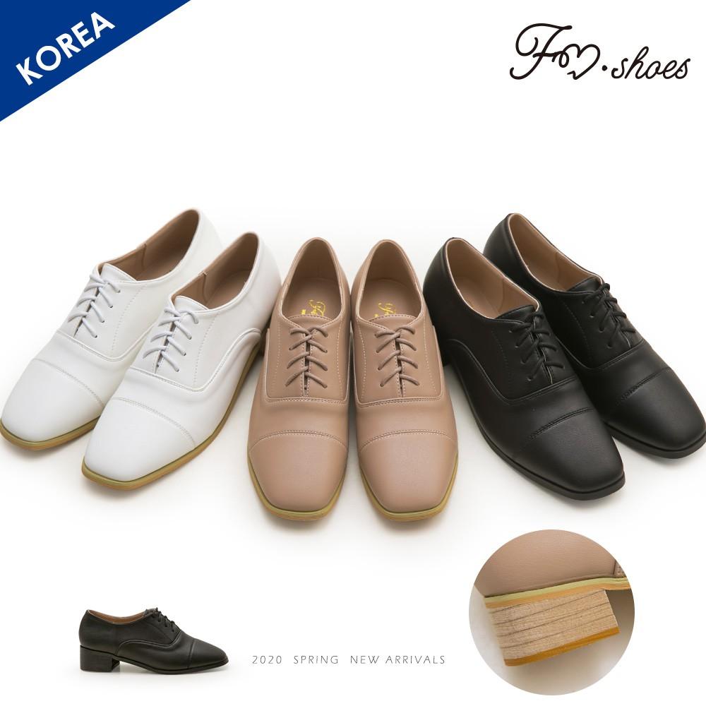 FMSHOES 韓-方頭木跟紳士牛津鞋-大尺碼-00007683