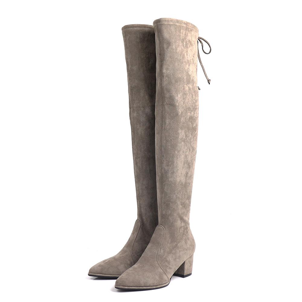Viina 絨毛布高跟過膝靴 - 可可