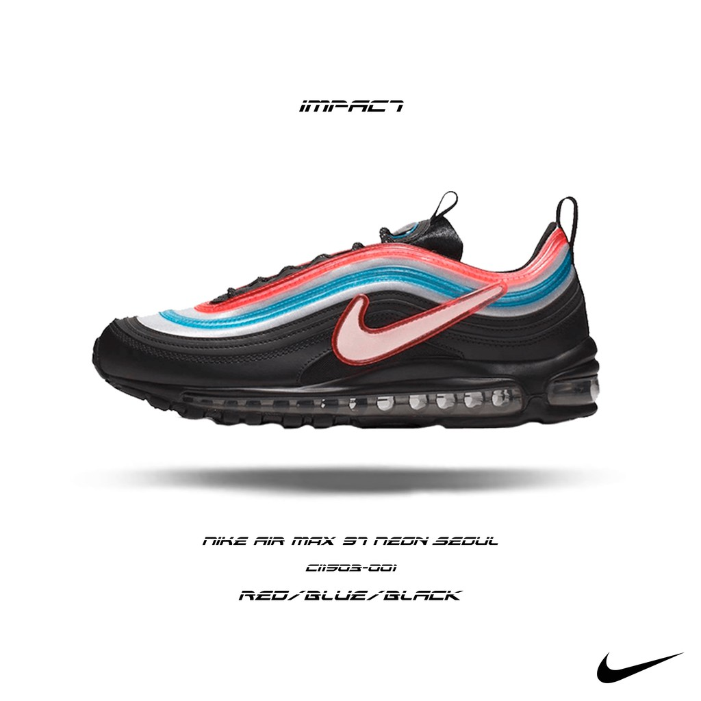 Nike Air Max 97 Neon Seoul 首爾限定 黑 紅 藍 霓虹 CI1503-001 IMPACT