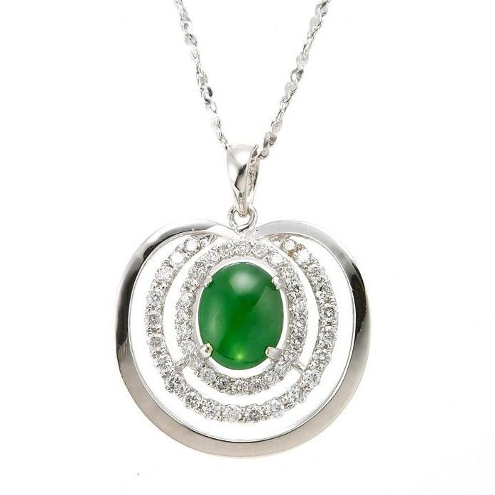 Dolly 緬甸 陽綠冰種翡翠 14K金鑽石項鍊