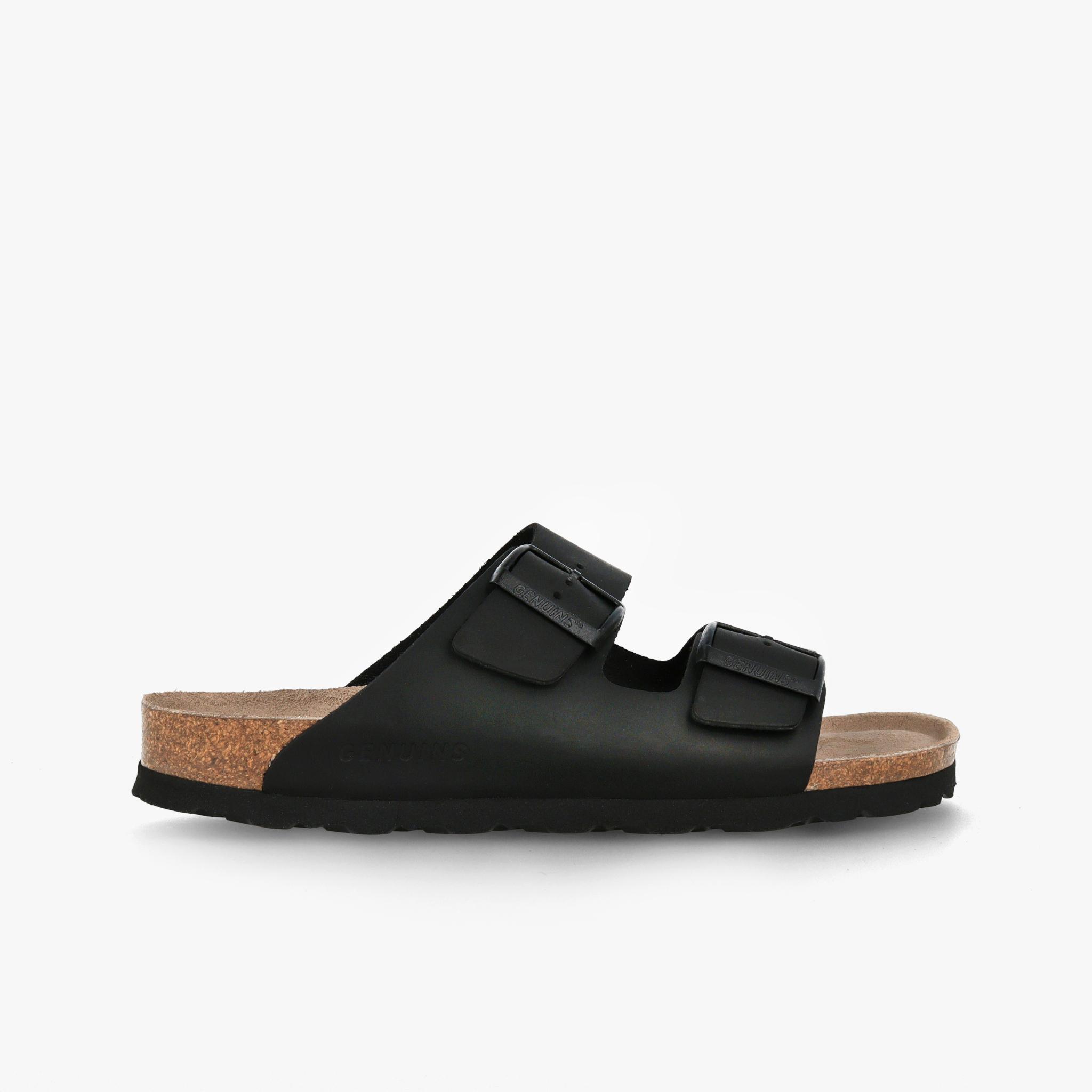 Genuins 純素皮革軟木雙扣女士涼鞋-黑