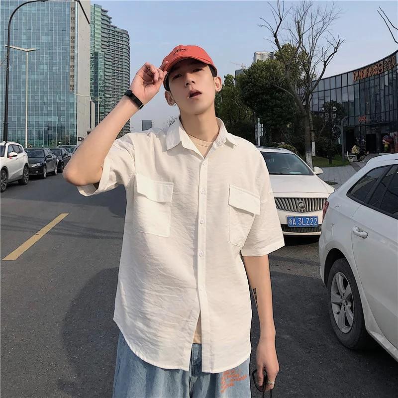 純色短袖襯衫 韓版潮流修身青年襯衣 素面襯衫男 大尺碼襯衫 襯衫外套 素t 正韓上衣 男生衣著