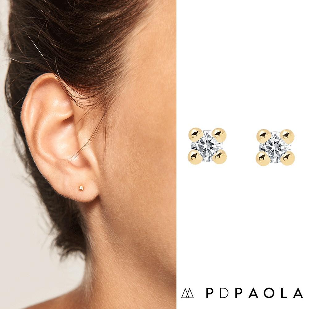 PD PAOLA 西班牙時尚潮牌 金色單鑽耳環 迷你白鑽耳環 925純銀鑲18K金