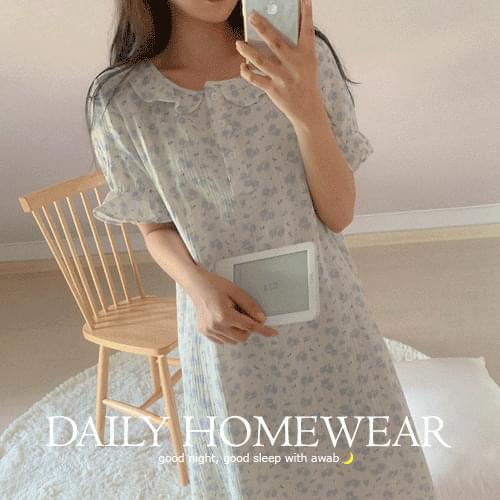 韓國空運 - 花朵圖案荷葉襬睡衣洋裝 及膝洋裝