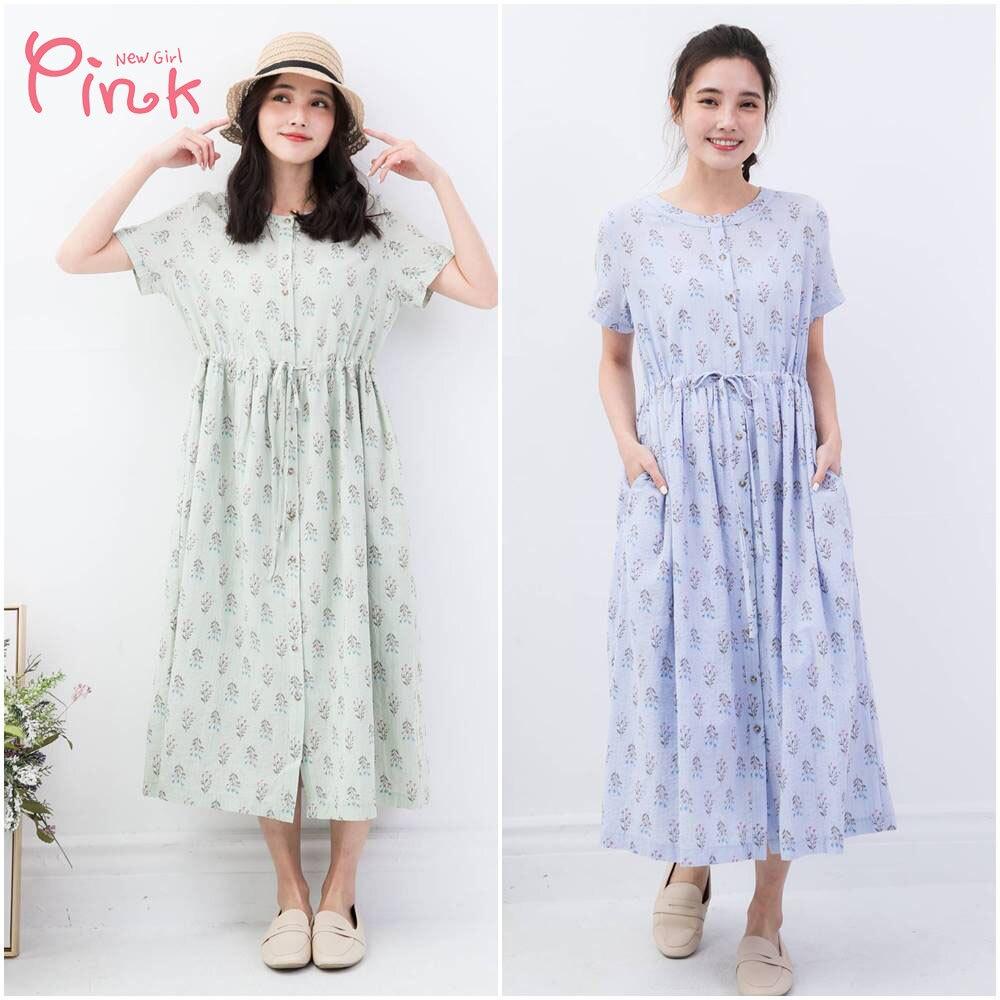 Pink*法式田園花卉綁帶洋裝 (2色) T4101FD