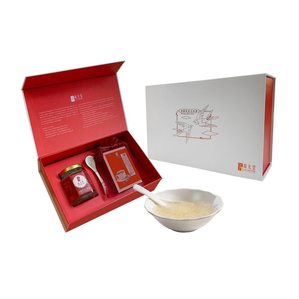 琉元堂 頂級即食官燕盞經典禮盒 (1入燕窩微糖+8包博士茶)